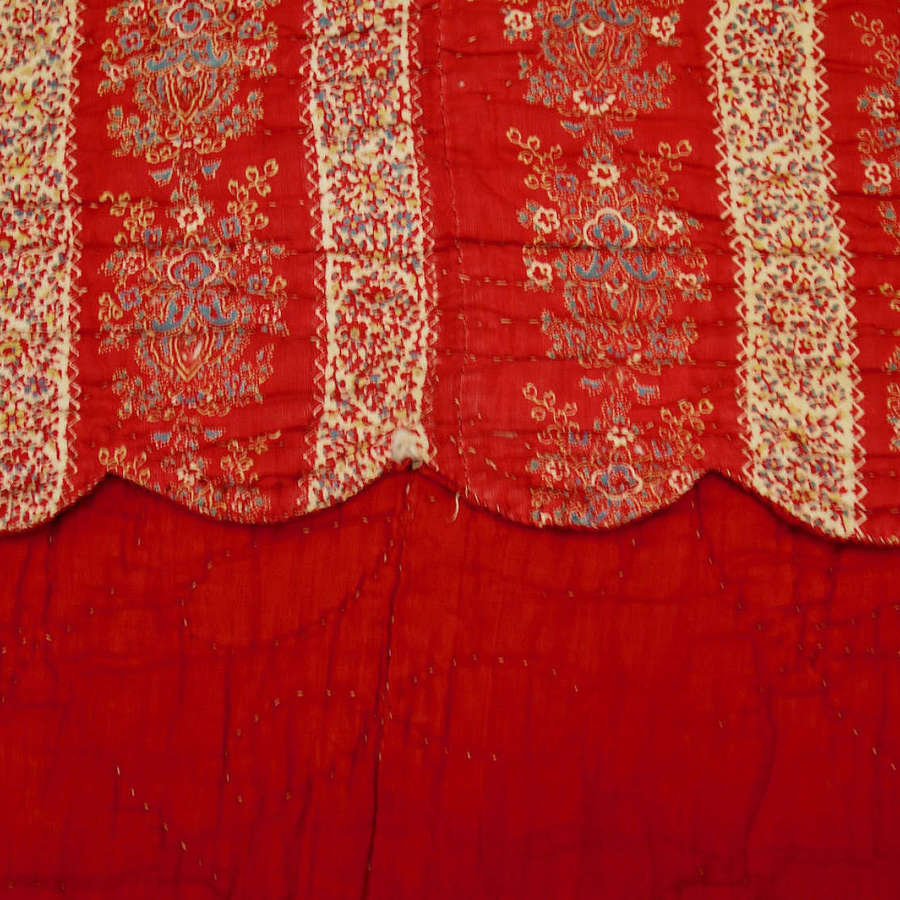 Red Scalloped Edged Quilt French 19th Century