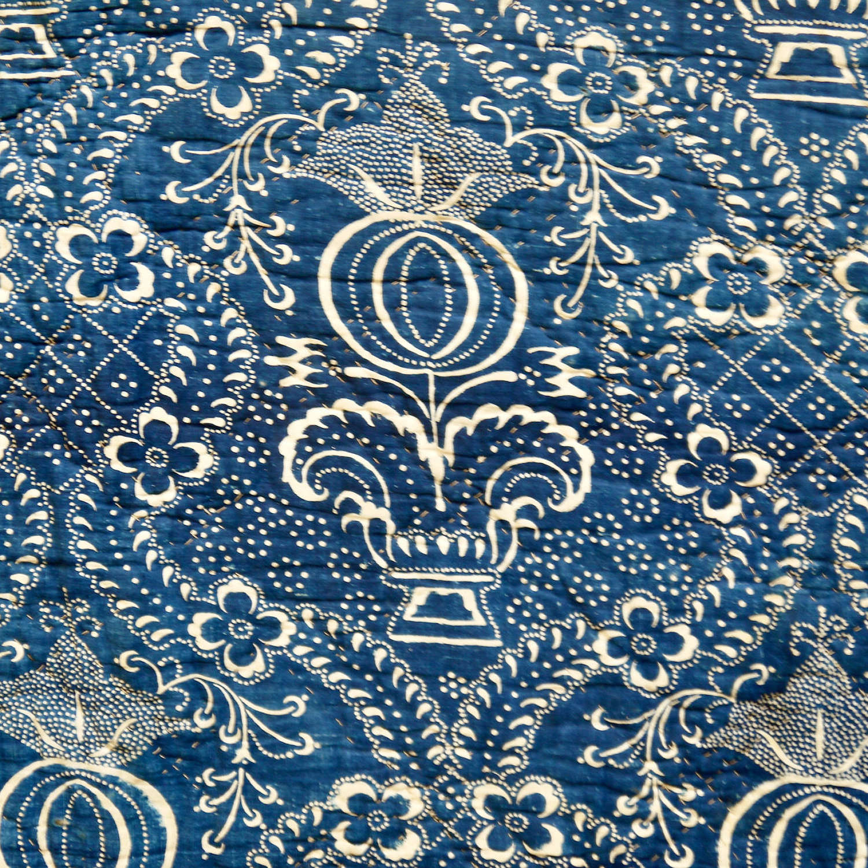 Indigo Resist Cotton Quilt French Late 8th Century