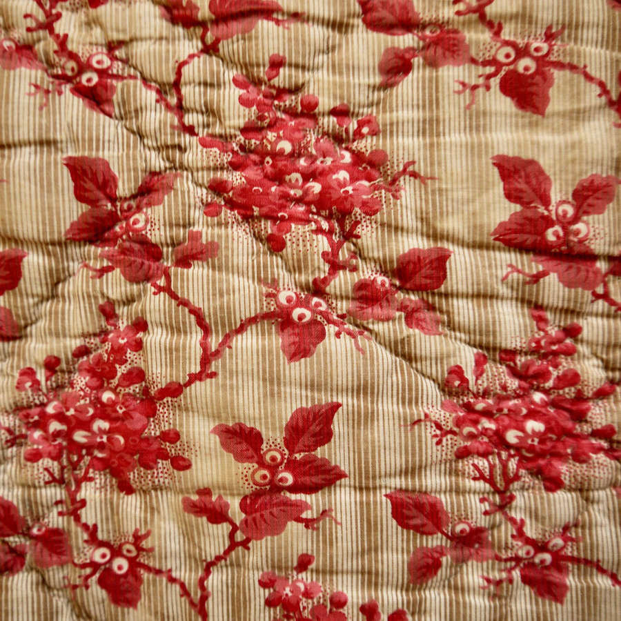 Blossom Print Cotton Quilt French 19th Century