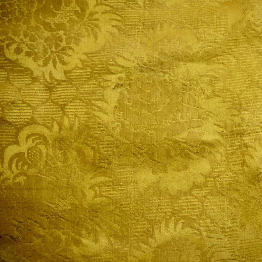 Saffron Yellow Damask Silk French Empire 19thC