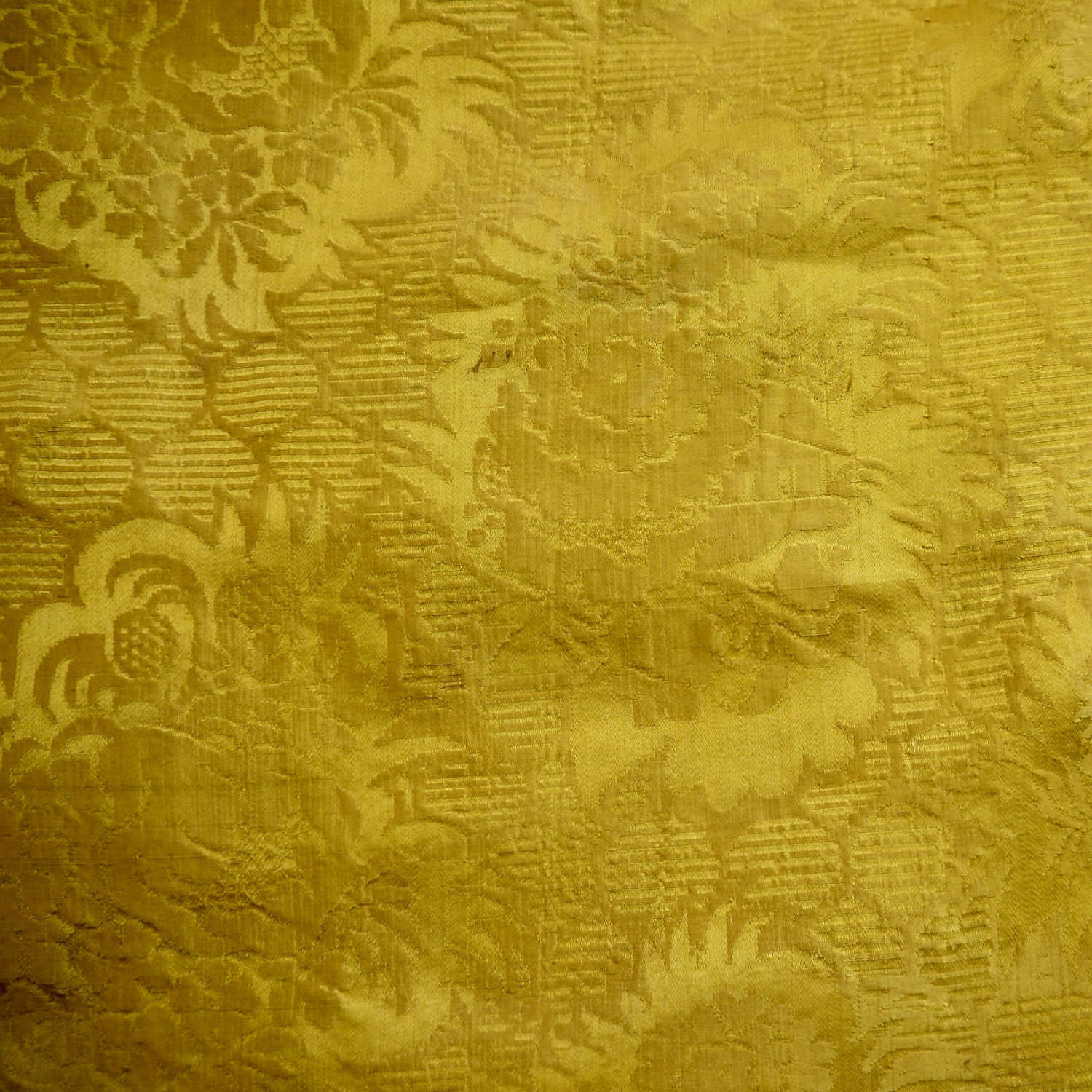 Saffron Yellow Damask Silk French Empire 19thC