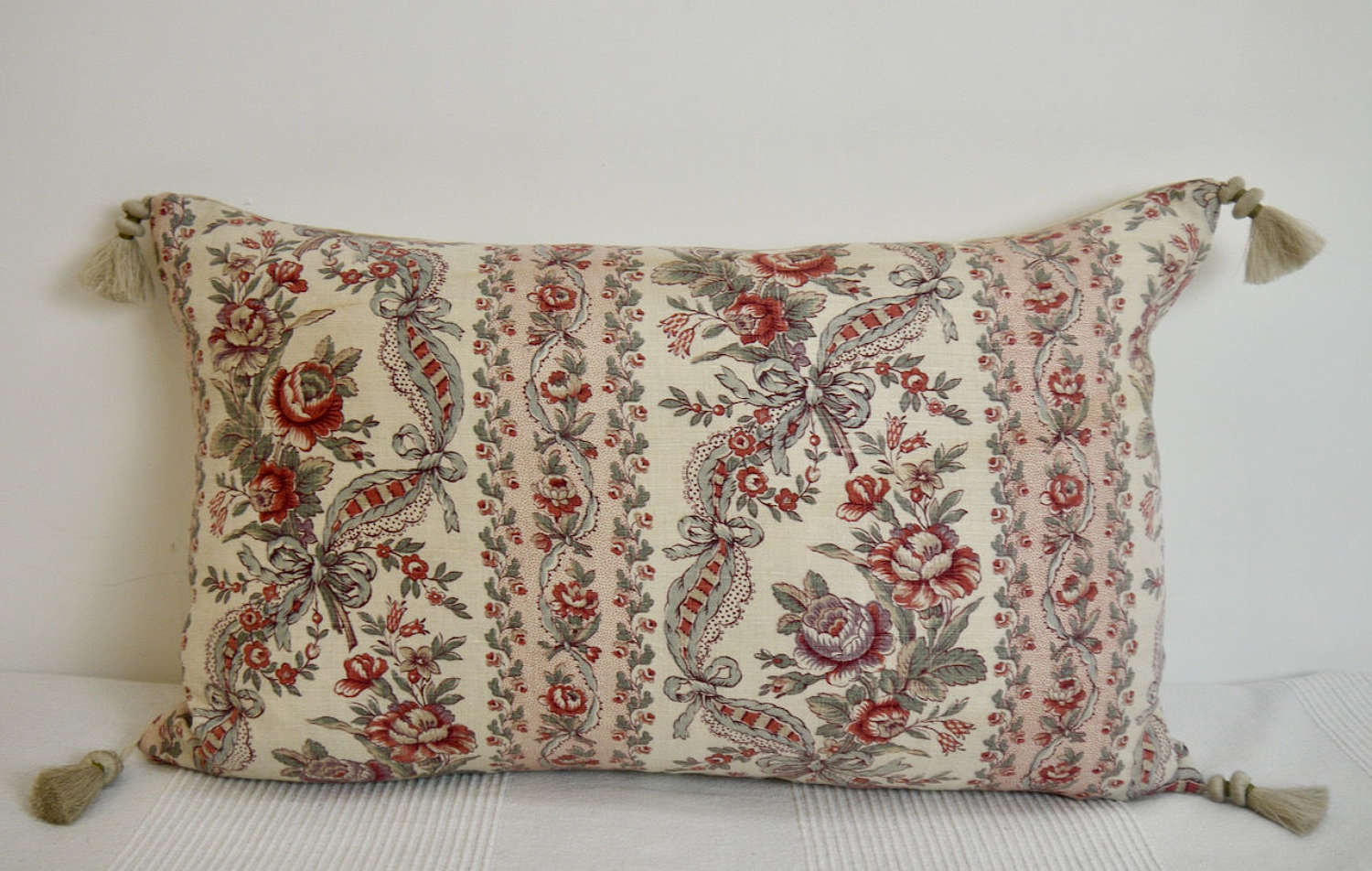 Roses Linen Cushion French Late 19th Century