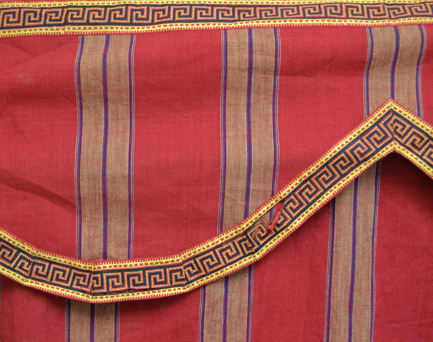 Red Striped Cotton Cloth & Pelmet French 18th Century