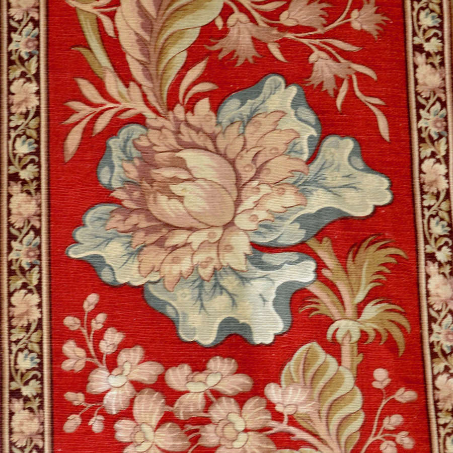 Turkey Red Floral Cotton Border French 19th Century