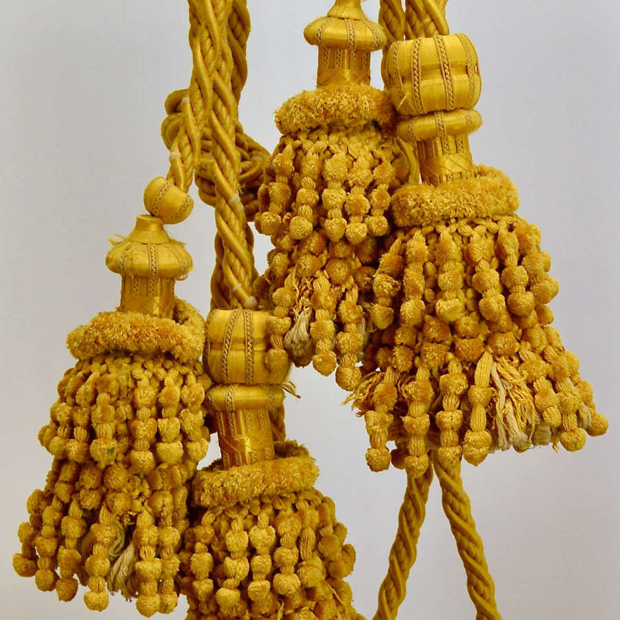 Pair of Saffron Yellow Silk Tiebacks French 19th Century