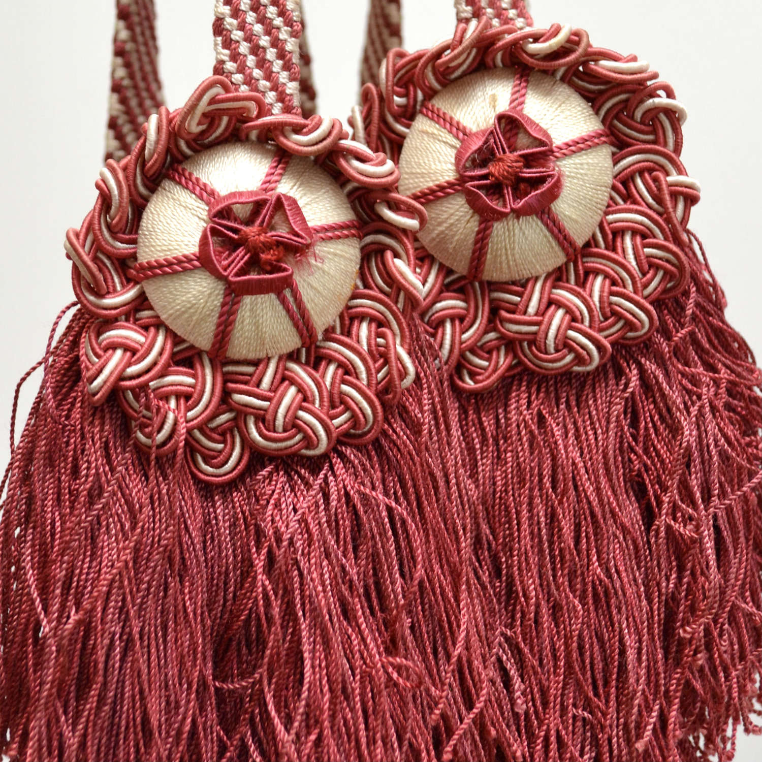 Two Pairs of Red Silk Tiebacks French 19th Century