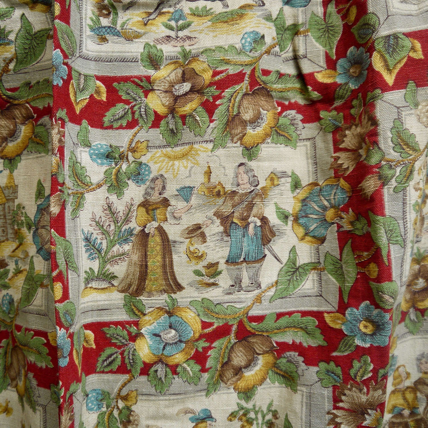 Pair of Linen Curtains English Vintage