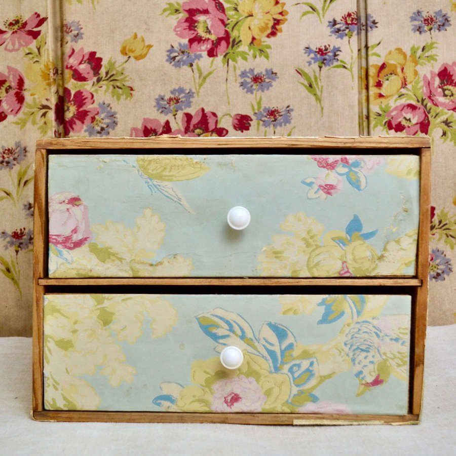 Small Wallpaper Box of Drawers Early 20th Century