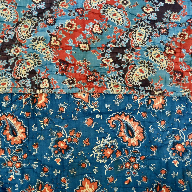 Indigo & Madder Red Quilt French 19th Century