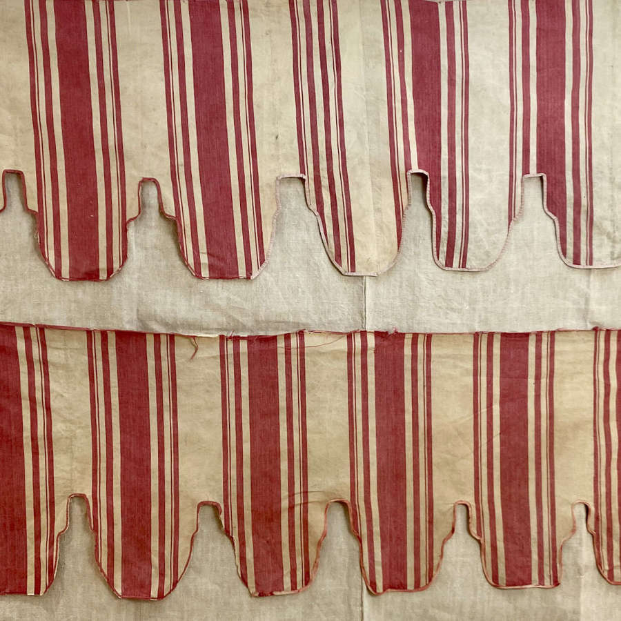 Pair of Red Striped Cotton Pelmets French 19thC