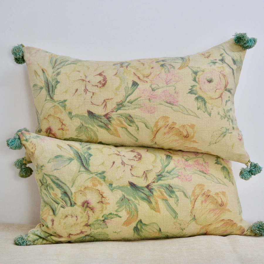 Pair of Yellow Green Floral Linen Cushions