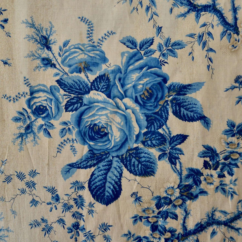 Blue Roses Chintz French 19th Century
