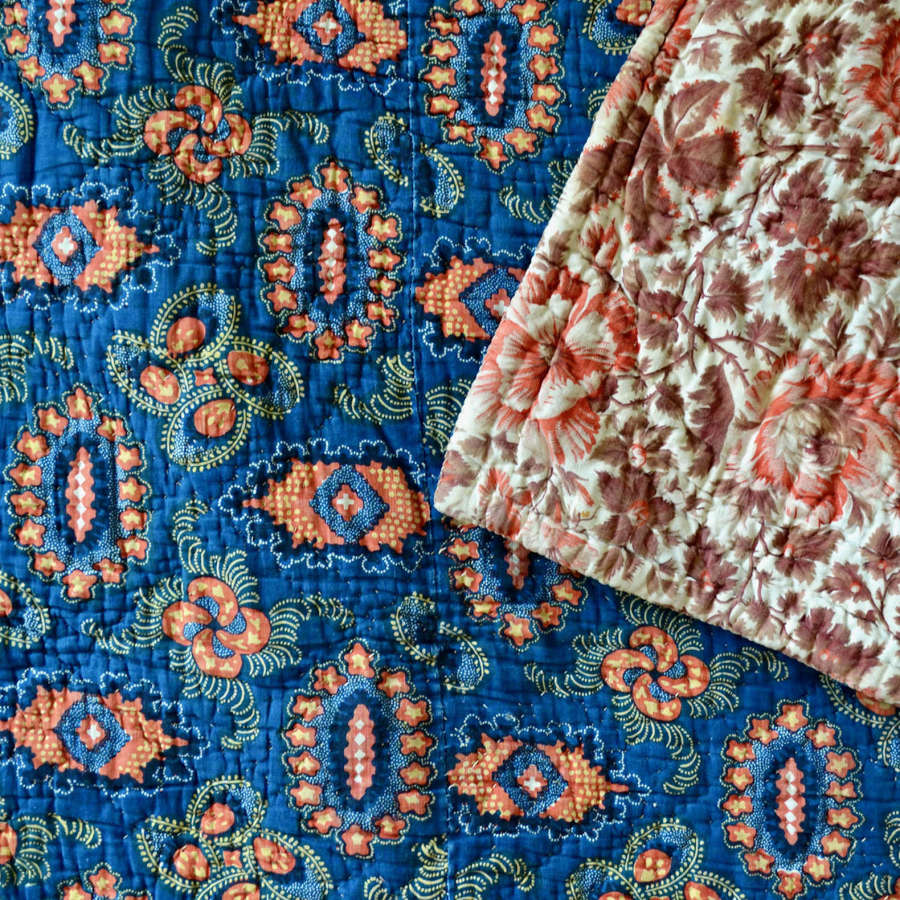 Indigo & Madder Red Quilt French Early 19th Century