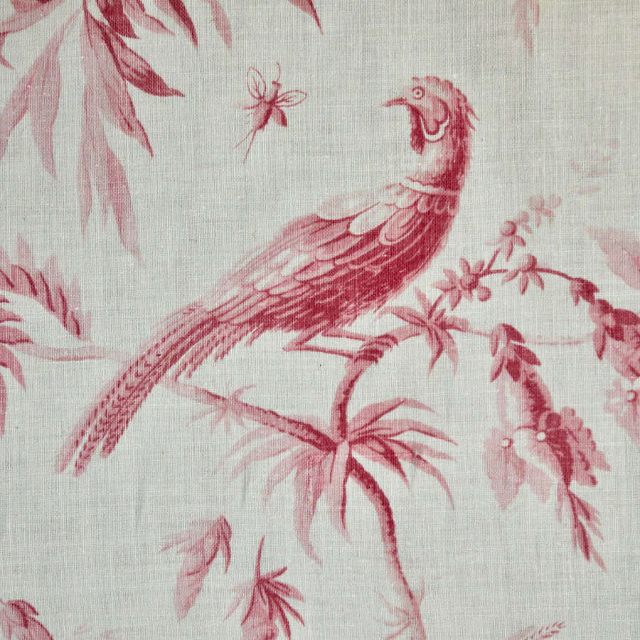 Pink Birds Single Curtain French 19th Century