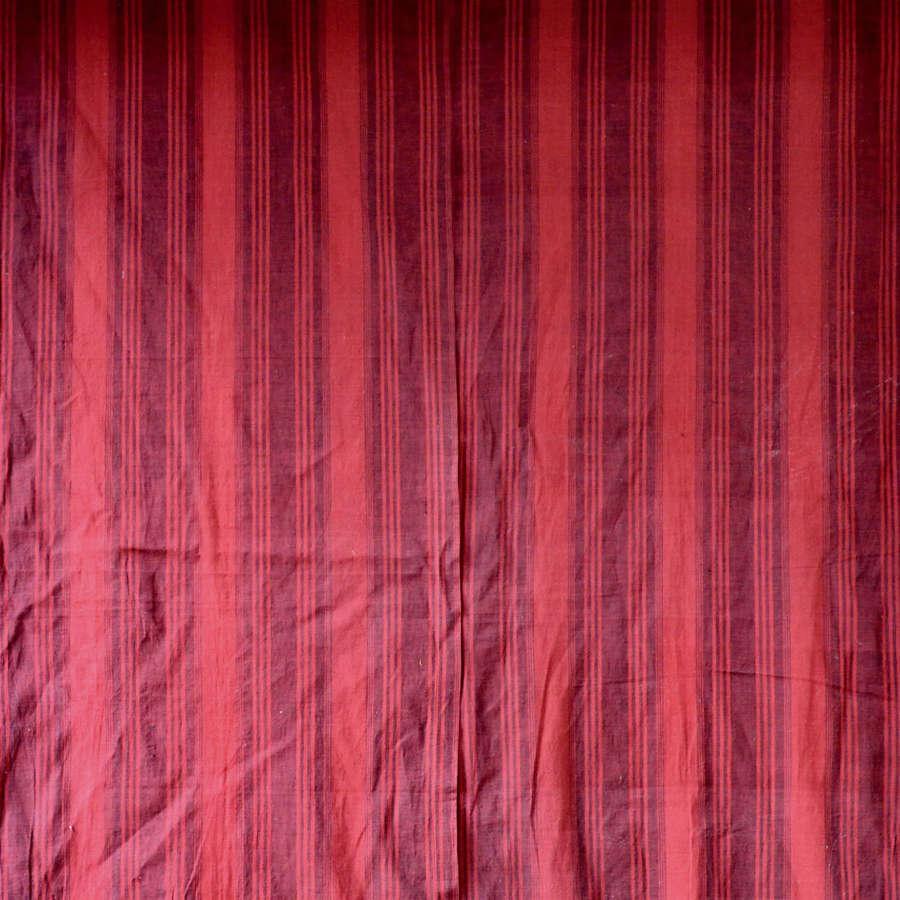 Pair of Provençal Red Striped Cotton Panels 18thC