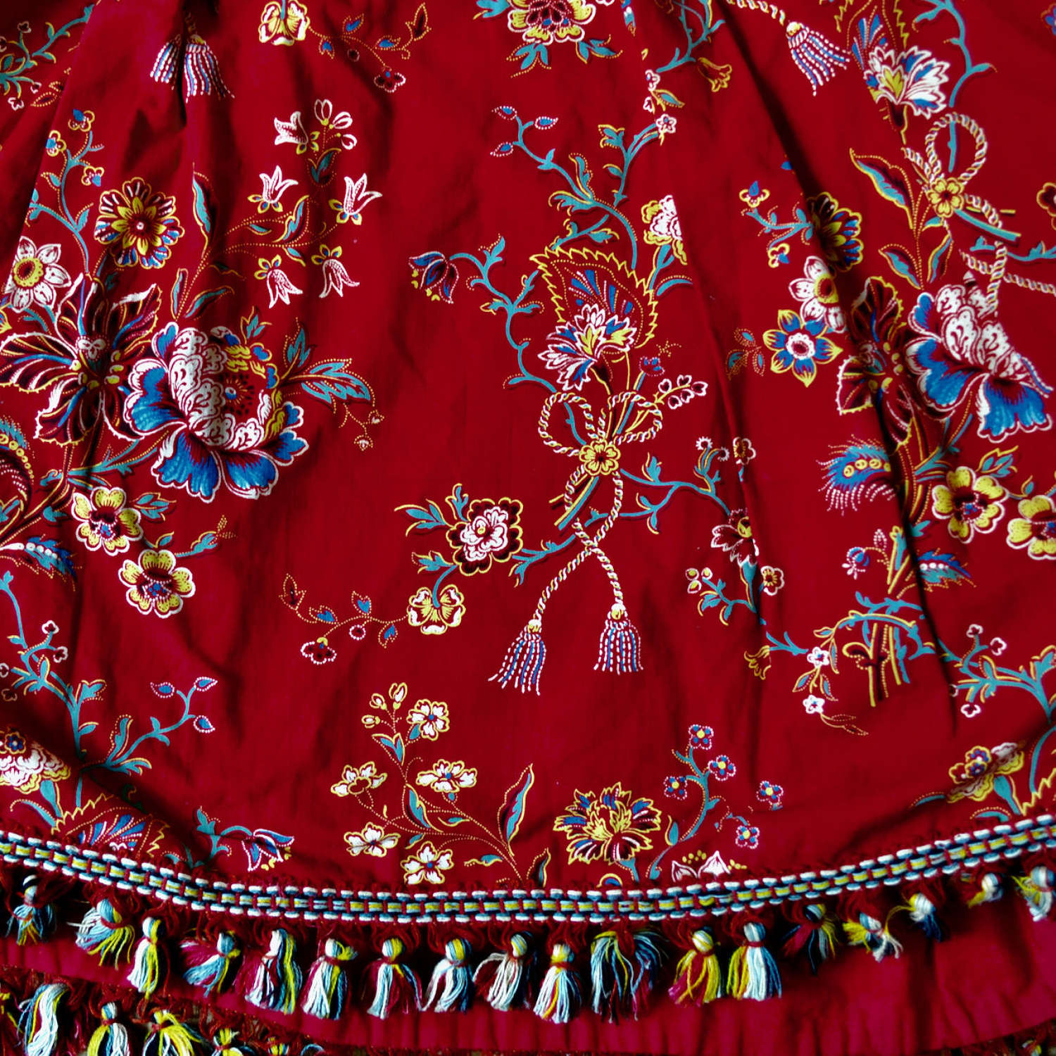 Red Printed Cotton Pelmet French Early 20thC