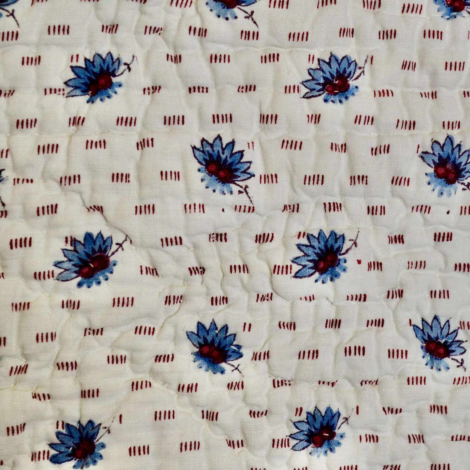 Blue Block Printed Cotton Quilt French 19th Century