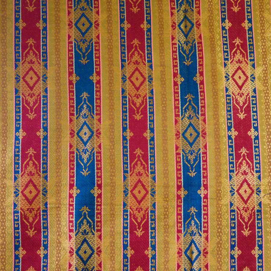 Woven Stripe Silk Linen French Early 20th Century