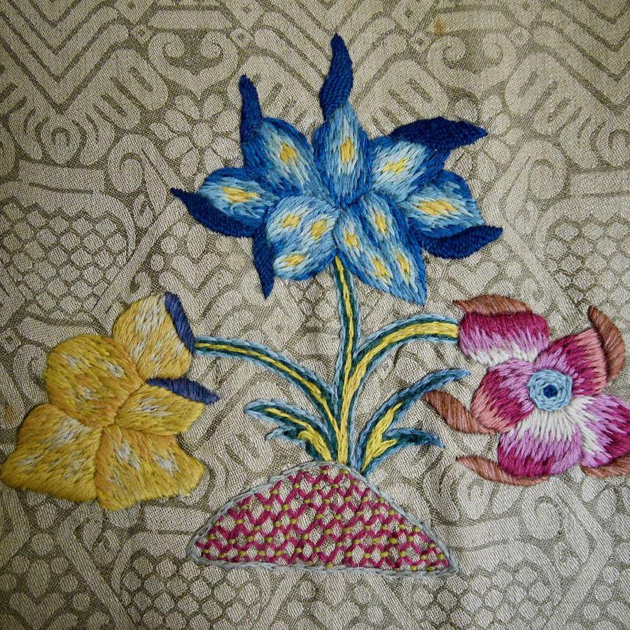 Crewel Work Flowers Linen Panel English C1920S